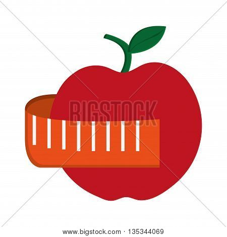 red apple with stick and leaf on top and surrounded by orange measuring tape vector illustration