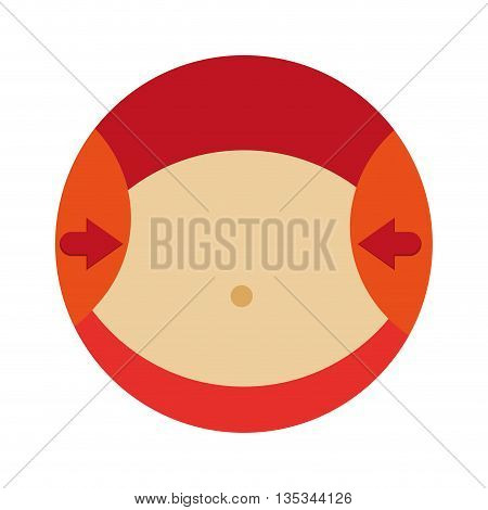 orange circle with the waist of a woman with red arrows pointing vector illustration