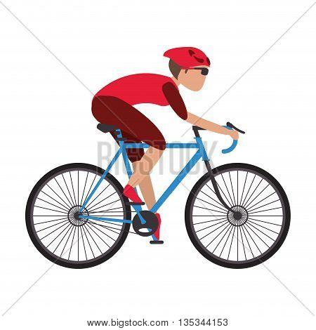 person riding blue bycicle with full gear vector illustration