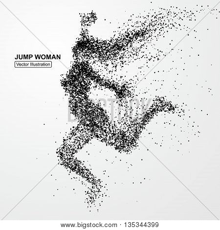 Jump woman, vector graphics, composed of particles.