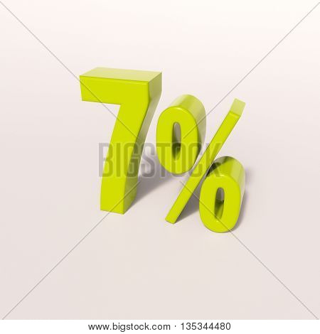 3d render: green 7 percent, percentage discount sign on white, 7%