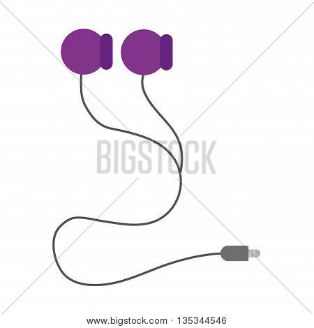 simple purple earphones with cord and connection vector illustration