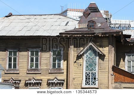 Dilapidated wooden house in Irkutsk near Lake Baikal in Russia.
