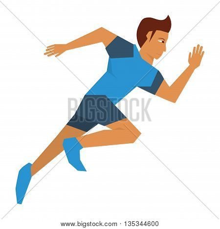 person with blue garments running vector illustration