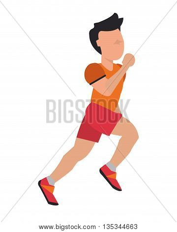 person jogging with red and orange garments vector illustration