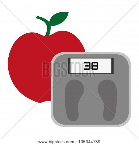 simple red apple with stick and leaf on top and grey weight scale vector illustration
