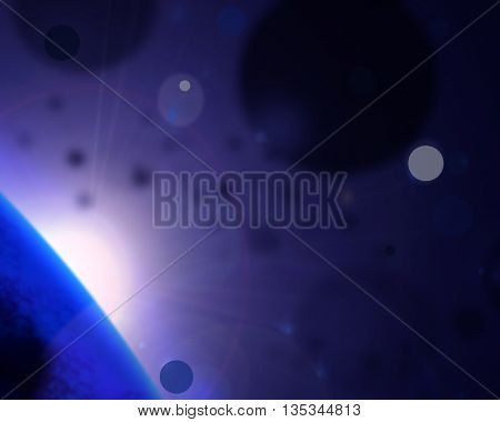 Abstract dark blue background with glowing elements