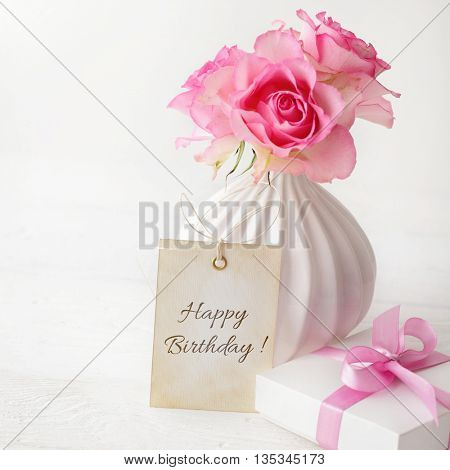 birthday gift and flowers