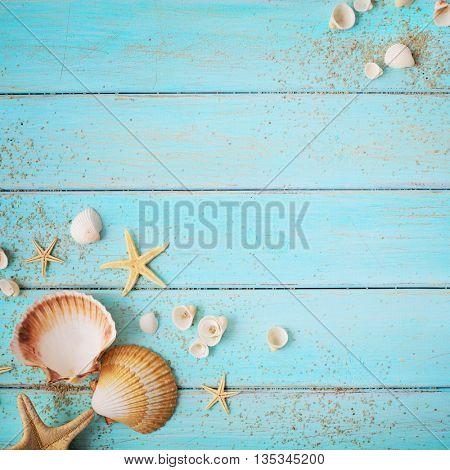 summer background. seashells border on wooden board