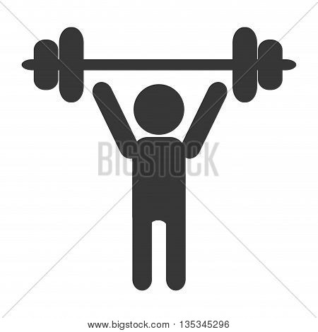 grey silhouette of person lifting a barbell vector illustration