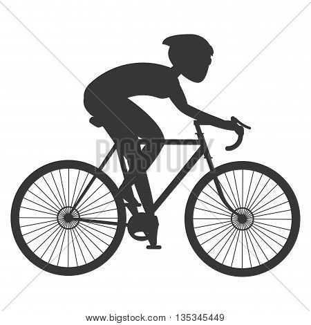 silhouette of person riding bike with full gear vector illustration