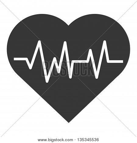 simple grey cartoon heart with pulse line inside vector illustration