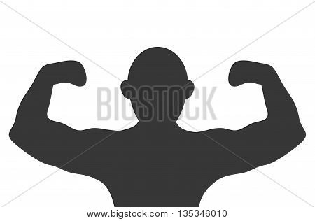 silhouette of person with muscle arms flat style design
