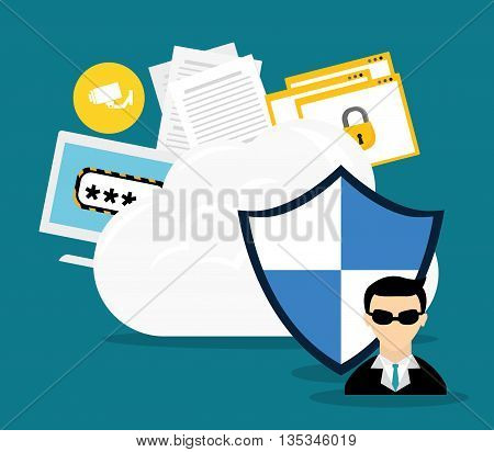 Security system design over blue background , vector illustration.