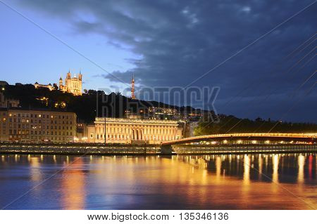 Courthouse And Basilica At Lyon With Citylights, France