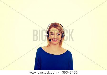 Happy smiling phone operator in headset.