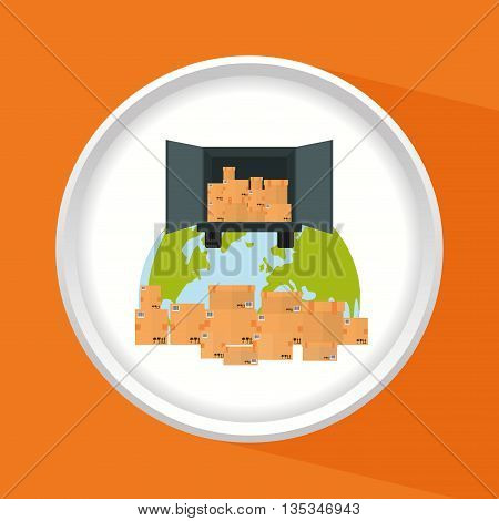 Delivery design over orange background, vector illustration.