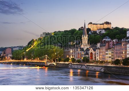 Old city of Lyon at sunset France