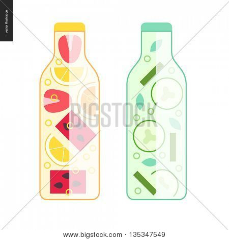 Two bottles of detox water - cartoon vector illustration of bottles filled with fruit lemonade and cucumber water, with slices of watermelon, lemon and orange, strawberry, and mint with cucumber