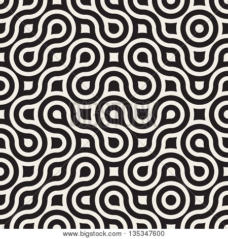 Vector Seamless Black And White Irregular Round Lines Geometric Pattern. Abstract Geometric Background Design