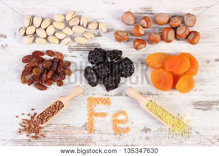 Ingredients And Products Containing Iron And Dietary Fiber, Healthy Nutrition