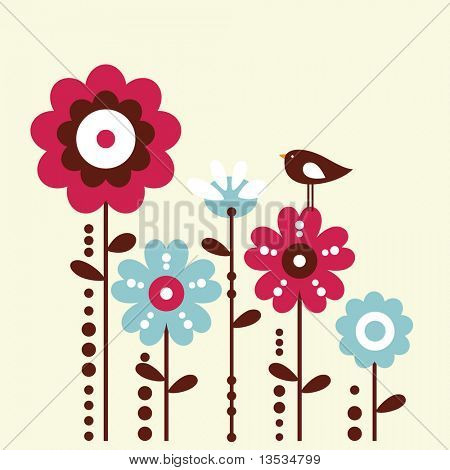 cute bird and flower design