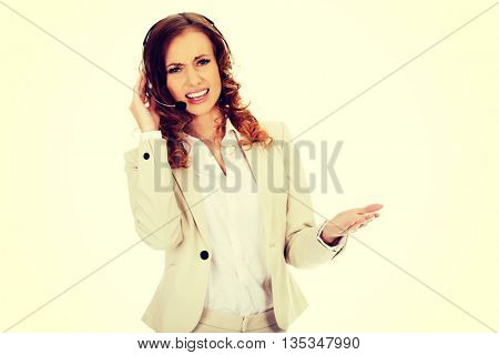Frustrated call center woman talking.