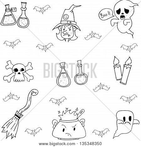 Halloween doodle set witch element vector art