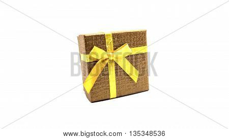 Little brown boxs gift on white background