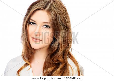 Pretty smiling girl in white blouse. Youth fashion. Isolated over white.