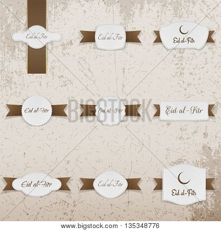 Eid al-Fitr greeting Labels Set. Vector Illustration
