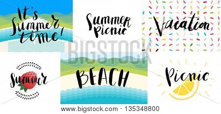 Lettering on beach, picnic, vacation and summer - six vector cartoon illustrated script writings Beach, summer tIme, Vacation,Picnic