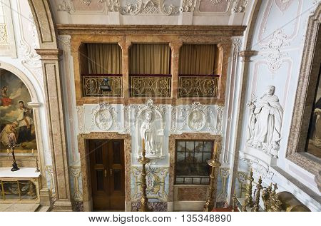 OEIRAS, PORTUGAL - November 4, 2015: Detail of the lavishly decorated Chapel of Our Lady of Mercy in the Palace of Oeiras, on November 4, 2015 in Oeiras, Portugal
