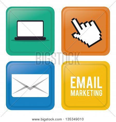 Email marketing  design over white background, vector illustration.