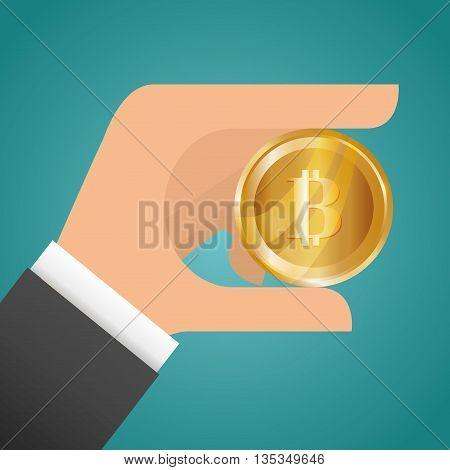 Bitcoin design over blue background, vector illustration.