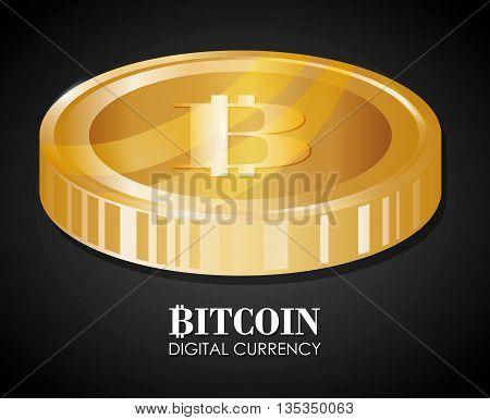 Bitcoin design over black background, vector illustration.