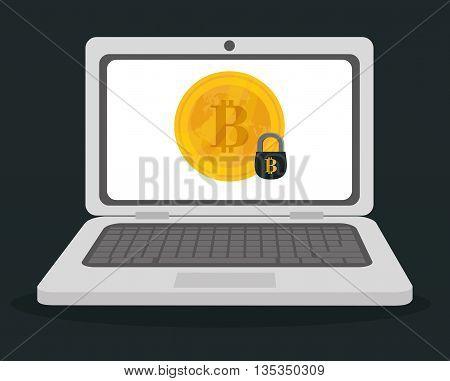 Bitcoin design over gray background, vector illustration.