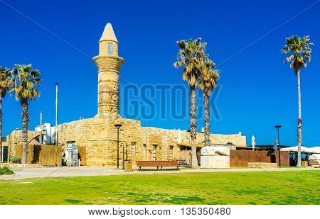 The tiny mosque in Caesaria Maritima was built in the Middle Ages and nowadays it's the part of the open air archaeological museum Israel.