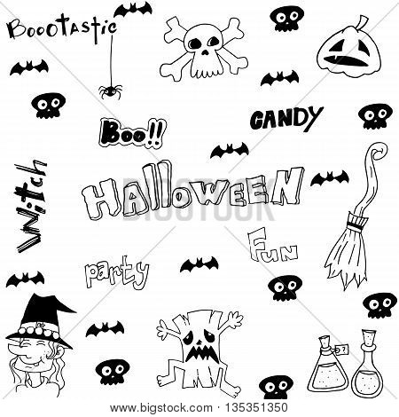 Halloween witch scary element doodle vector illustration