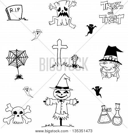 Halloween doodle vector scarecrow, zombie, witch illustration