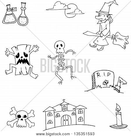 Halloween doodle vector illustration castle, tomb, ghost