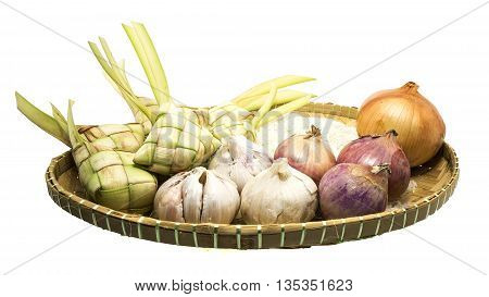 Ketupat or rice dumpling is a local delicacy during the festive season. on white background