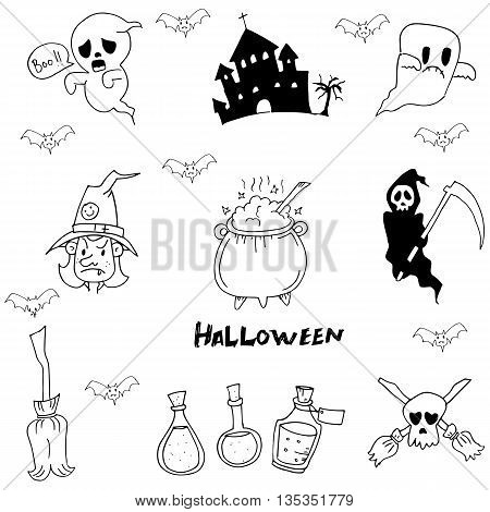 Halloween character warlock, witch doodle vector art