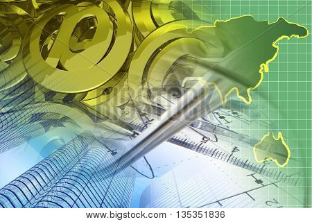 Financial background with glasses map and buildings.