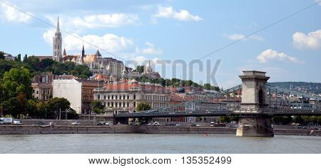 Hungarian landmarks, Chain Bridge, Royal Palace and Matthias Church from  Danube river in Budapest.
