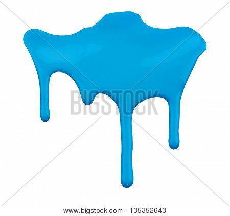 blue paint dripping isolated on white background