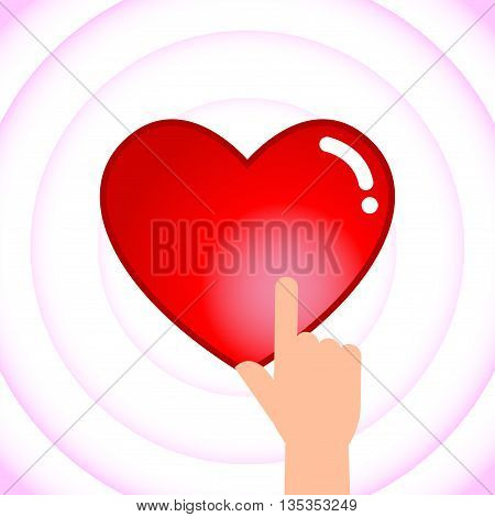 Vector stock of hand touching heart shaped icon love symbol