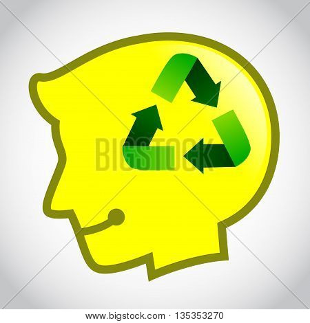 Vector stock of human head silhouette with recycle symbol inside