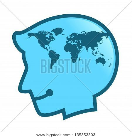 Vector stock of human head silhouette with world map inside