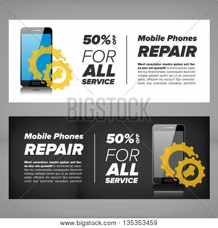 Smart phone device repair banner with gears and mobile phone